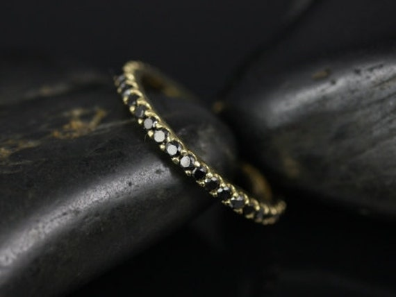 Rosados Box Mohma 14kt Yellow Gold Scalloped Black Diamond FULL Eternity Band