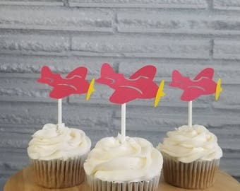 Airplane cupcake toppers, place party, plane topper, pilot party