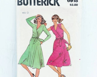 Long Wrap Dress Pattern with Side Tie and V Neckline 1970s Sewing Pattern Butterick 6918 Juniors Size 9 Bust 32 Uncut