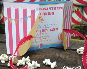 INSTANT DOWNLOAD Circus Carnival Printable Birthday 5 x 7 Invitation, You Edit Yourself in Adobe Reader