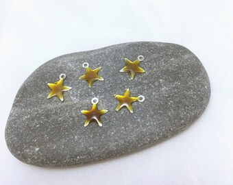 5 charms charms pendants - little silver enameled star - Brown - 11mm