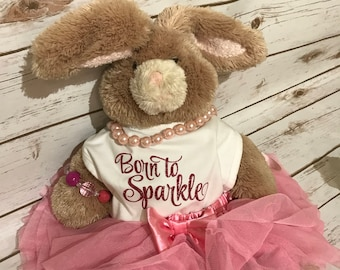 Born To Sparkle Bib in Glitter makes a great gift every little girl needs.  Perfect Baby Shower Gift!