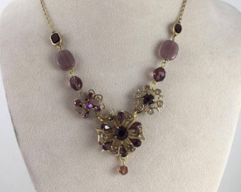 Purple Rhinestone Flower Assemblage Necklace, Statement Necklace, Vintage Jewelry, OOAK