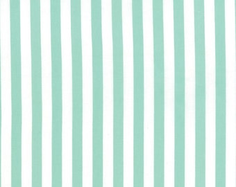 BTHY - Moxi by Studio M for Moda, Pattern # 32965-18 Saavy Stripes Marshmellow Capri, White and Teal Stripes, by the HALF YARD