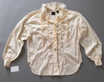 RUFFLE TUXEDO cotton blouse | 1980s cotton cream white blouse | Liz Claibrone ruffled blouse