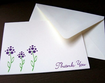 Thank You Cards - Purple Flowers