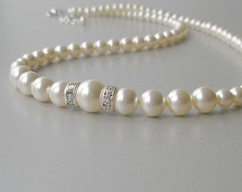 Elegant Ivory Pearl Necklace, Pearl and Crystal Bridal Necklace,  Bridesmaid Jewelry, Wedding Party Gift, Swarovski, Cream Pearl Necklace