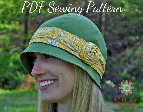 DIGITAL HAT PATTERN Cloche Hat Pattern Retro Hat Pattern
