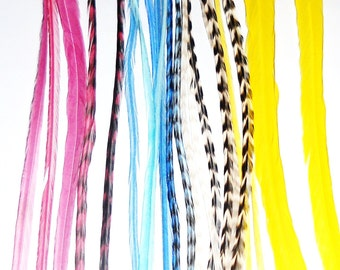 Feather Hair Extensions, California Girl Combo, 7 feathers  7 To 10 inches long with 6 crimp beads, turquoise pink yellow grizzly feathers