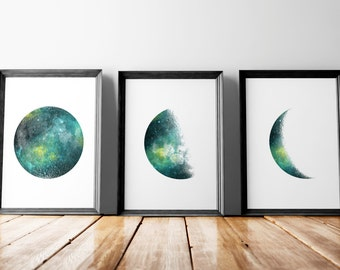 """Large printable posters, Set of 3 moon phases print A3 and 24x30"""""""