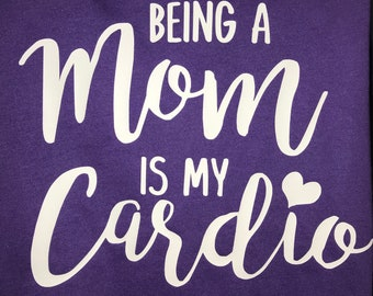 Being a Mom is my Cardio, Style, Fashion, Shopping, Funny, Baseball Raglan Shirt, Mom Baseball Shirt, Baseball Tank Top, Racerback, Tote Bag