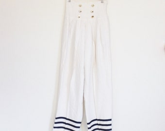 Pants - Size 2 1980's Blue and White Women's Sailor Pant by Nipon Boutique - Vintage Womens Style Sailor Pants - White Nautical Clothing