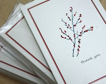 Winterberry Branch Thank You Notes 100% Recycled Handmade Note Cards, Set of 8, Winter Berry