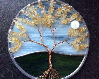 Citrine tree of life suncatcher