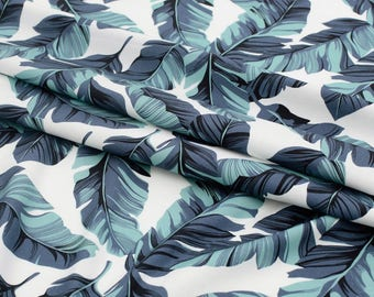 Digital Textile Printed Banana Leaves Cotton  by the yard (width 44 inches) 90402 Blue