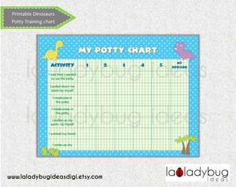 Potty training chart dinosaur. Printable potty training chart for girls or boys. Instant download. Digital File. Reward chart potty training