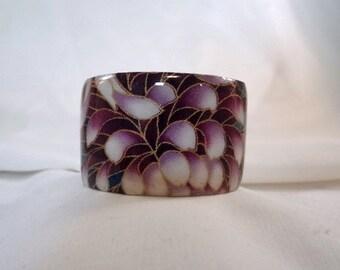 SALE BRACELET-Purple Floral Wide Cuff Bracelet, Resin, Accessory(CCB196)