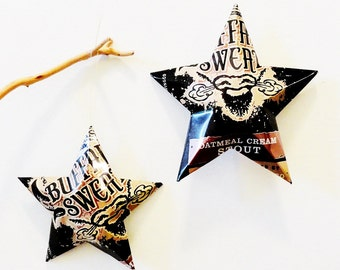 Buffalo Sweat Oatmeal Cream Stout Beer Stars, Ornaments, Aluminum Can, Upcycled, Tallgrass Brewing