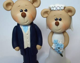 Bride And Groom Bear Wedding Cake Topper,