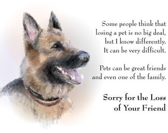 Sympathy Card for the Loss of a Dog, Pet, Puppy German Shepherd