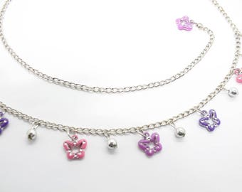 Kids Childrens Charm Belt - Waist Chain - With Pendent - Pink & Purple Butterfly