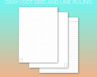 PRINTABLE A5 Paper Gray | Printable Paper, Dot Grid Paper, Lined Paper, Planner Paper, Writing Paper, Bujo Paper | PDF | Instant Download