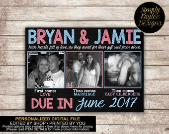 First comes love, the come marriage, then comes baby Birth Announcement