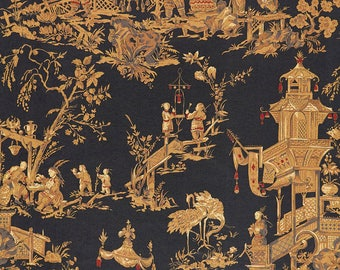 SCHUMACHER CHINOISERIE TOILE Fabric 10 yards Charcoal Gold