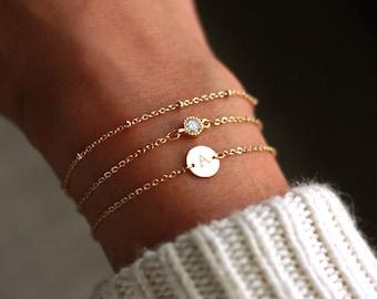 Personalized Bridesmaid Bracelets Gold | Personalized Bracelet Set | Personalized Bridesmaid Gift | Initial Bracelet | SILVER-ROSE Gold-Gold