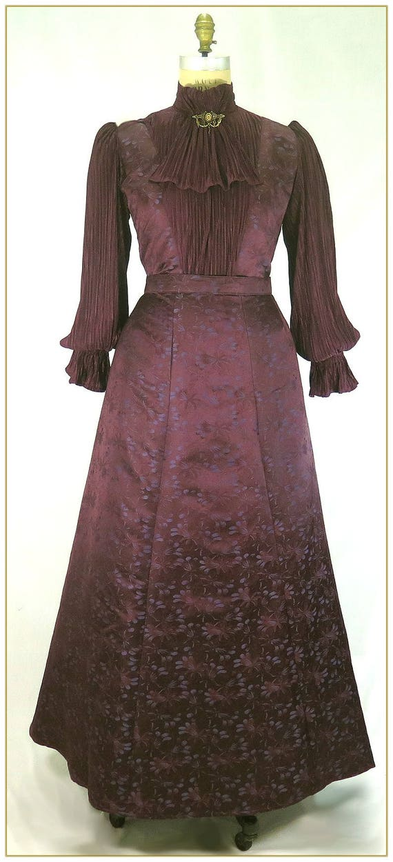 1900 Edwardian Dresses, Tea Party Dresses, White Lace Dresses 1890s Plum Brocade Victorian Skirt $92.00 AT vintagedancer.com