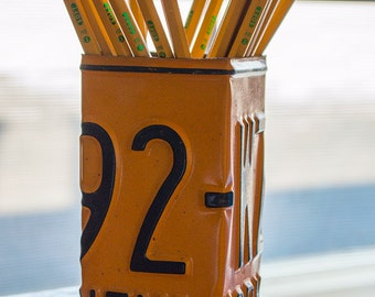New York License Plate Pencil Holder - Pencil Cup - Unique Pencil Cup - Desk Accessories - Office Decor - License Plates - Pen Holders