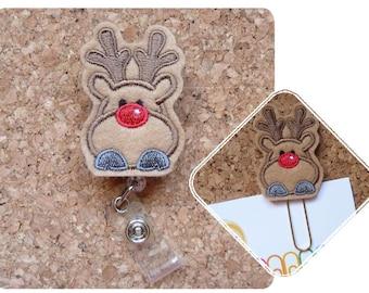 Reindeer Badge Reel, Lanyard, Planner Clip, Bookmark, Key Ring, Charm, Pin, Paperclip, Magnet, Ornament, Hair Clip, Headband, Felt  376