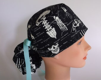 Glow in the Dark Skeletons Ponytail - Womens lined surgical cap, Chefs hat, Nurse surgical hat, 96-900 B