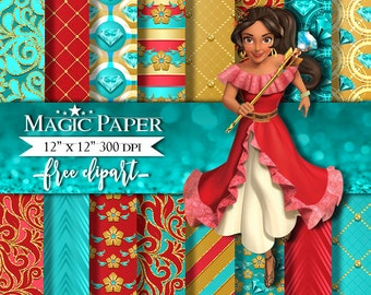 Princess Elena of Avalor Digital Paper Papers, Scrapbook, Scrapbooking, Pattern