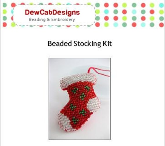Bead embroidery kit beaded stocking to make christmas ornament bead embroidery kit beaded stocking to make christmas ornament pattern tutorial do it yourself holiday ornament new christmas crafts from solutioingenieria Gallery