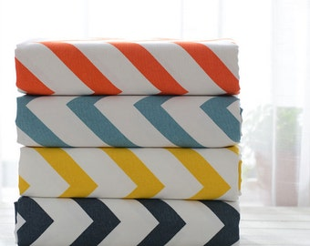 Canvas Cotton Large Chevron Fabric Chevron Zig Zags In Orange Blue Yellow On Off White Canvas-  1/2 Yard
