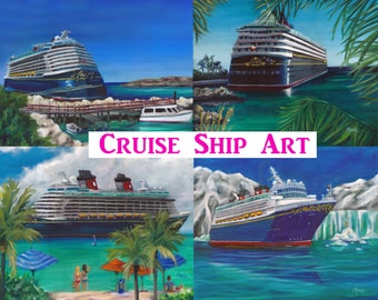 Ride to Paradise, prints, art prints, original art, cruise ship art, vacation art