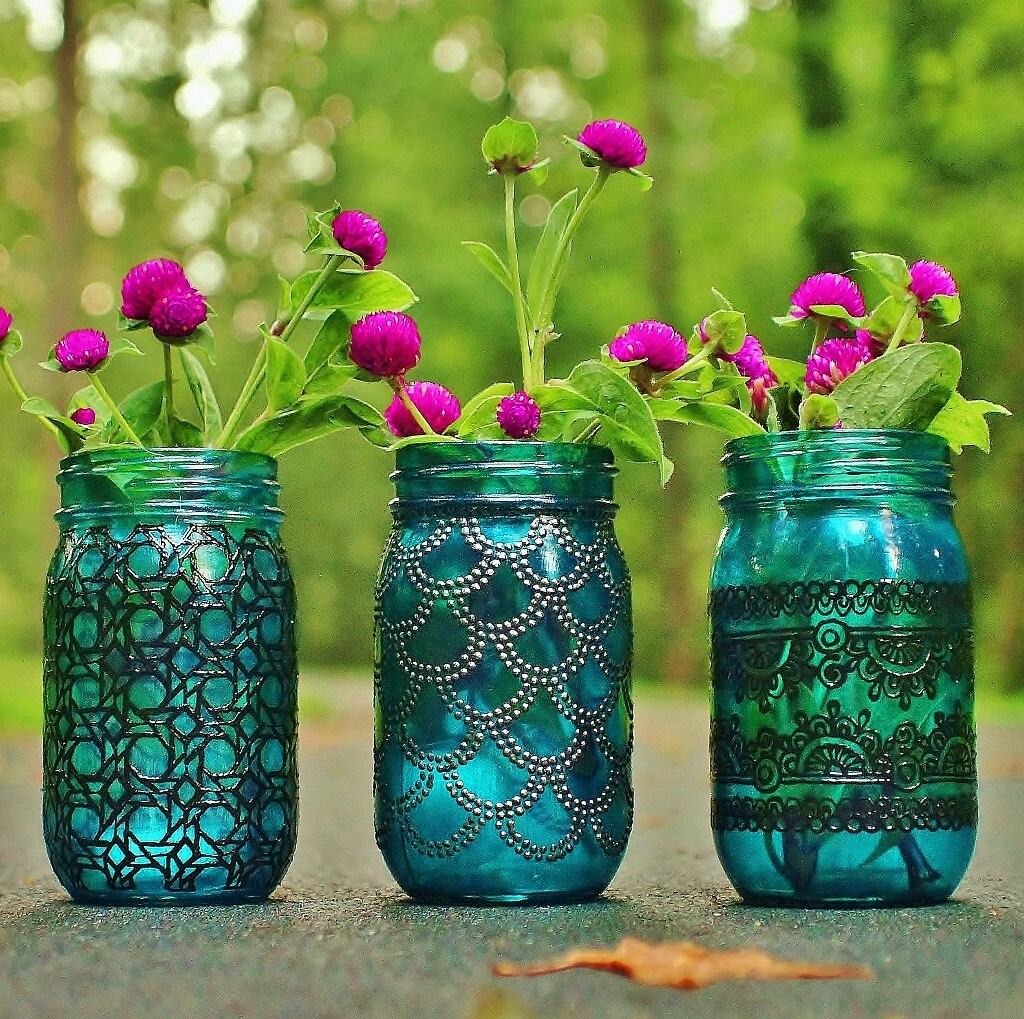 Bohemian vases trio of mason jar lanterns teal blue glass zoom floridaeventfo Images