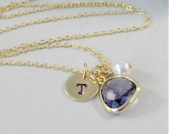 February Birthstone Necklace, Initial Necklace,Amethyst Necklace,Purple Necklace,Monogram Necklace,Pearl Necklace,February Necklace,Purple