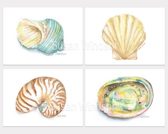 Seashell Art Prints Set of 4 Abalone Turbin Clam Nautilus Ocean Beach Decor Wall Art HORIZONTAL Orientation