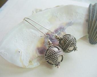 Silver Bead Earring, Silver Dangle Earring, Silver Ball Earring, Drop Earring, Birthday's, Womens Jewelry, Gift For Women, Boho Chic Jewelry