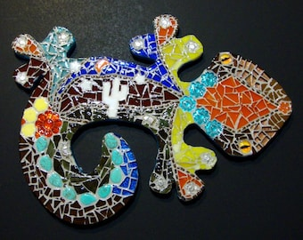 Mosaic Gecko  Original Art With Cactus Armadillo Stars Flowers