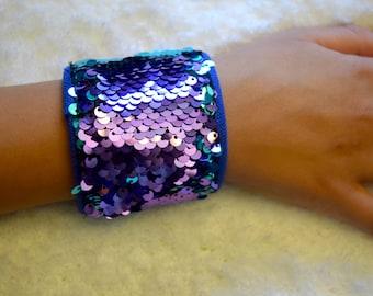 Mermaid Sequin Color Changing Bracelet; Turquoise to Purple sequin bracelet for kids; Calming Sensory Autism Bracelet; Fidget Bracelet