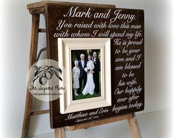 Parents Thank You Wedding Gift Grooms Parents Picture Frame, You Raised With Love This Man, 16x16 The Sugared Plums Frames