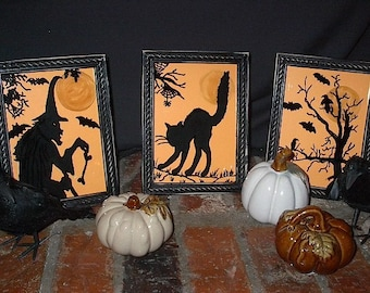 Set of 3 HALLOWEEN FRAMED SILHOUETTES - HaND PAiNTED / ReVerSE PAiNTED - Spooky