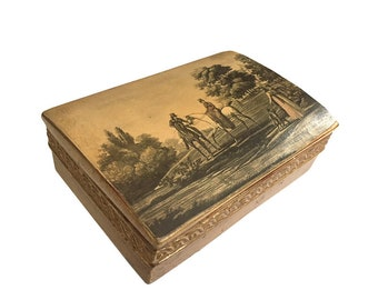Borghese Chalkware Trinket Box Equestrian / Borghese Horse Riding Box / Equestrian Trinket Jewelry Box/ Dressing Table Box / Gold Gilt Box