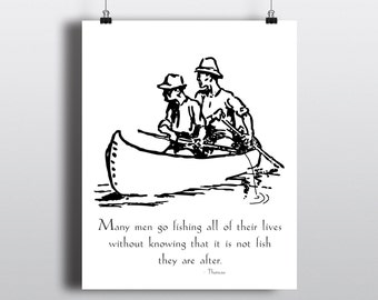 Henry David Thoreau Fishing Quote, Thoreau Instant Download, Fisherman Illustration, Outdoorsy Art Print, Nature Poster, 8x10 Printable Art