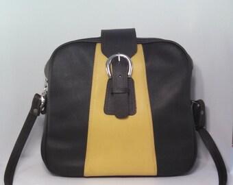 Vintage vinyl shoulder bag/ carryon travel purse bag