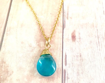 Turquoise Gold Necklace, Blue Teal tear drop pendant Necklace, Wire Wrapped bead Necklace, gold Necklace, Gift for Her, Christmas Gift