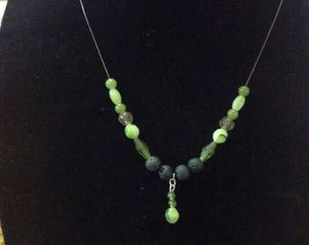 Beautiful green beaded diffuser necklace, lava necklace, aromatherapy necklace, wedding jewelry, bridesmaid necklace, essential oil necklace